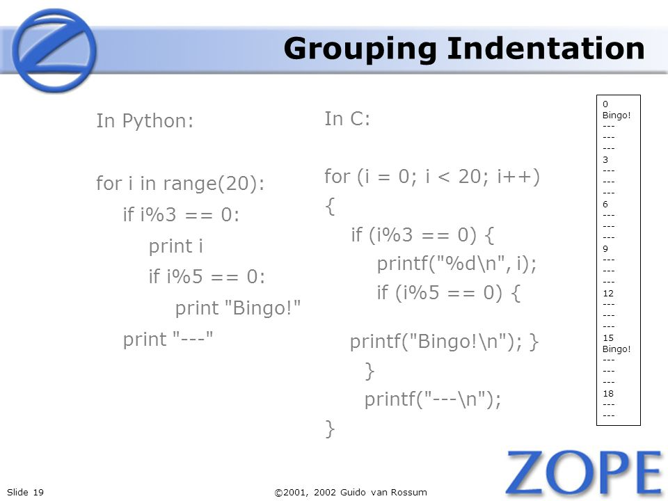 Slide 19©2001, 2002 Guido van Rossum Grouping Indentation In Python: for i in range(20): if i%3 == 0: print i if i%5 == 0: print Bingo! print --- In C: for (i = 0; i < 20; i++) { if (i%3 == 0) { printf( %d\n , i); if (i%5 == 0) { printf( Bingo!\n ); } } printf( ---\n ); } 0 Bingo.