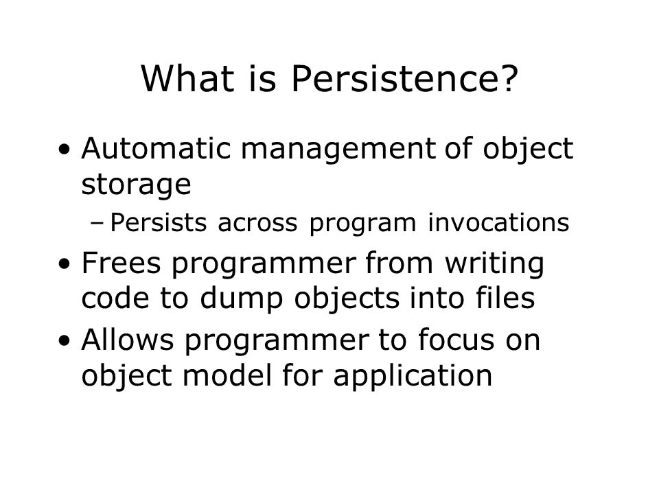 ZODB Approach to Persistence Minimal impact on existing Python code (transparency) Serialization (pickle) to store objects Transactions to control updates Pluggable backend storages to write to disk