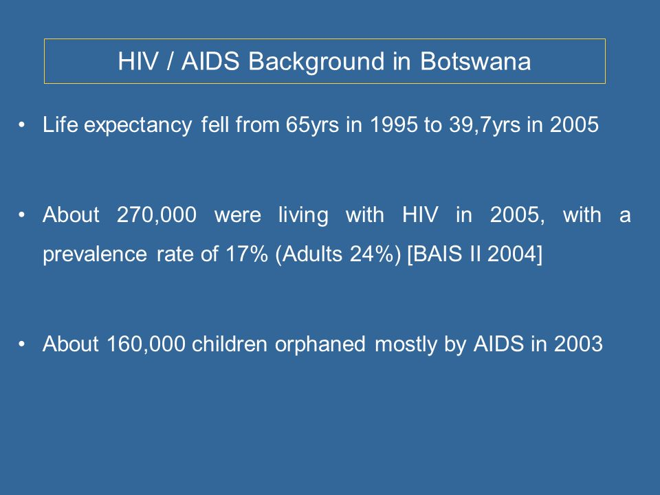 HIV / AIDS Background in Botswana Life expectancy fell from 65yrs in 1995 to 39,7yrs in 2005 About 270,000 were living with HIV in 2005, with a prevalence rate of 17% (Adults 24%) [BAIS II 2004] About 160,000 children orphaned mostly by AIDS in 2003