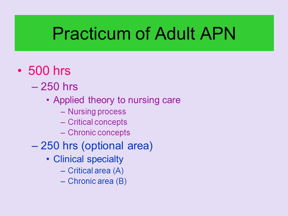 Practicum of Adult APN 500 hrs –250 hrs Applied theory to nursing care –Nursing process –Critical concepts –Chronic concepts –250 hrs (optional area)