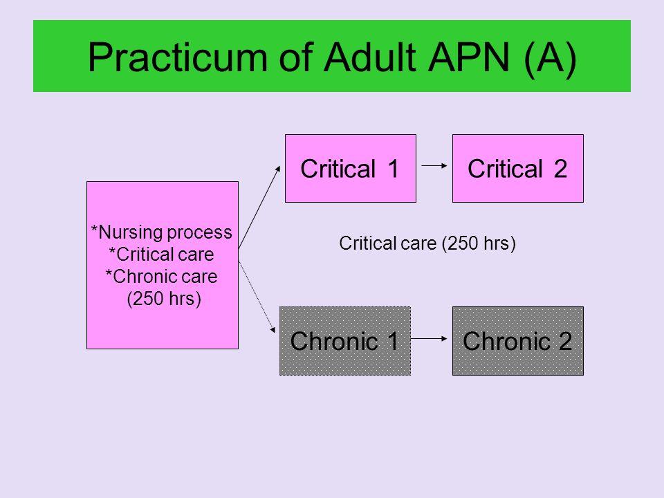 Practicum of Adult APN (A) *Nursing process *Critical care *Chronic care (250 hrs) Chronic 1Chronic 2 Critical 1Critical 2 Critical care (250 hrs)