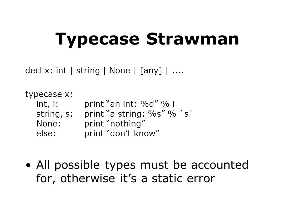 Typecase Strawman decl x: int | string | None | [any] |....