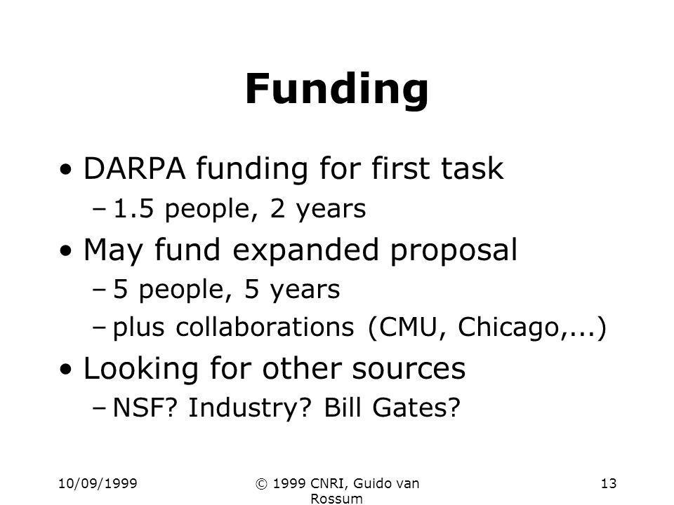 10/09/1999© 1999 CNRI, Guido van Rossum 13 Funding DARPA funding for first task –1.5 people, 2 years May fund expanded proposal –5 people, 5 years –plus collaborations (CMU, Chicago,...) Looking for other sources –NSF.