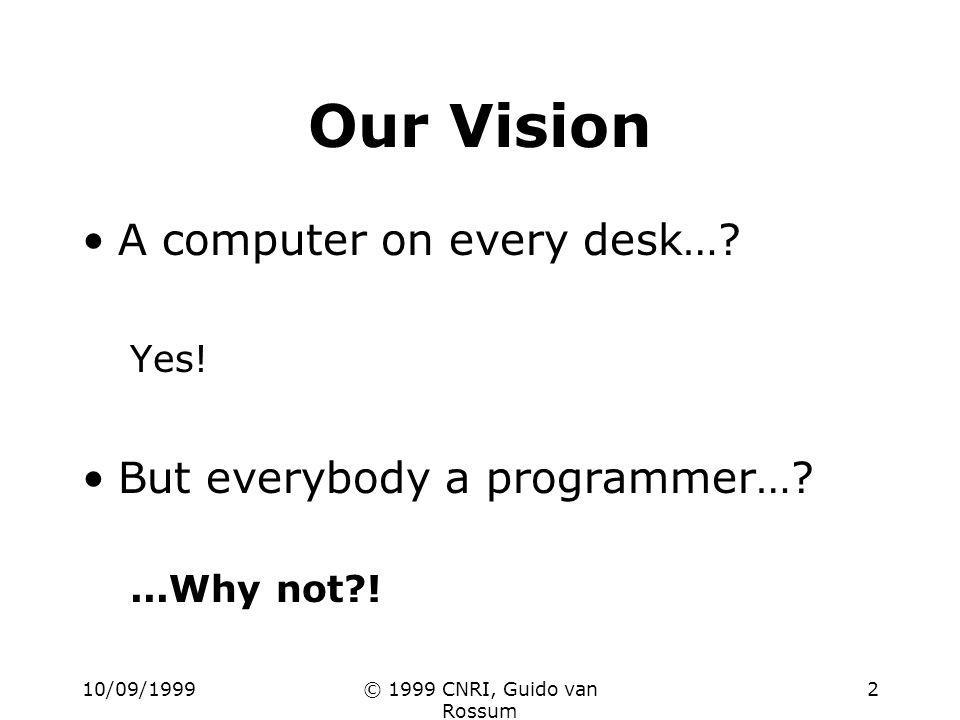 10/09/1999© 1999 CNRI, Guido van Rossum 2 Our Vision A computer on every desk….