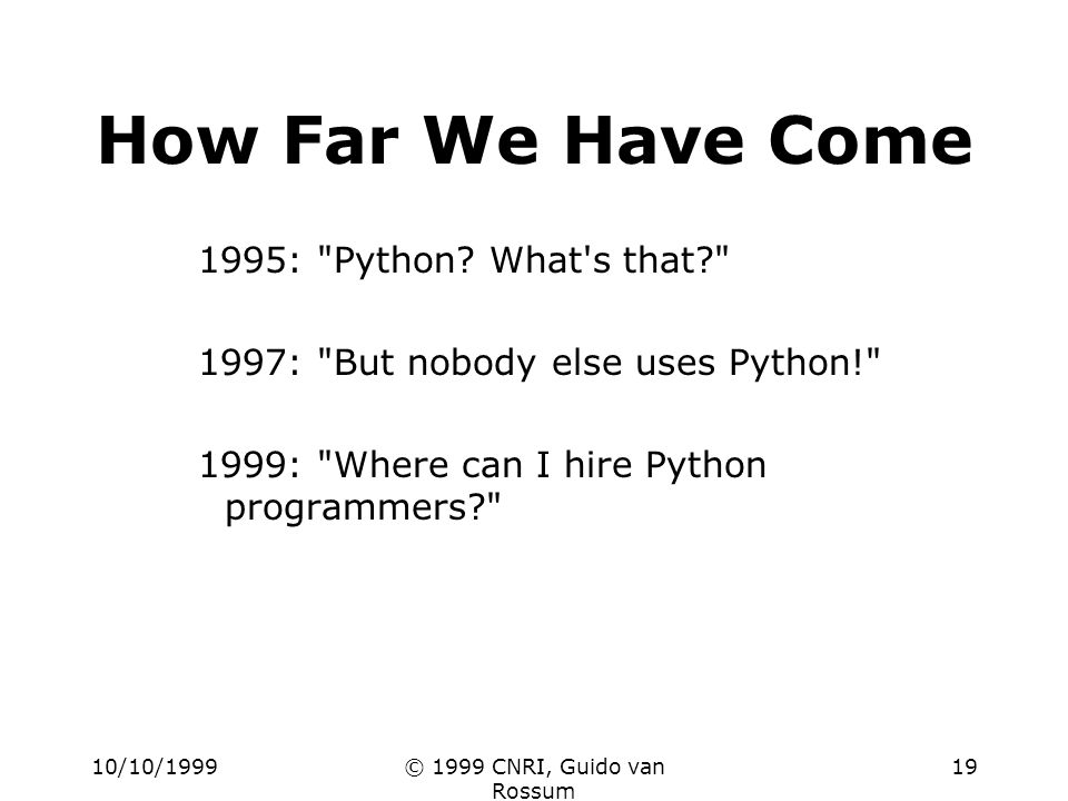 10/10/1999© 1999 CNRI, Guido van Rossum 19 How Far We Have Come 1995: