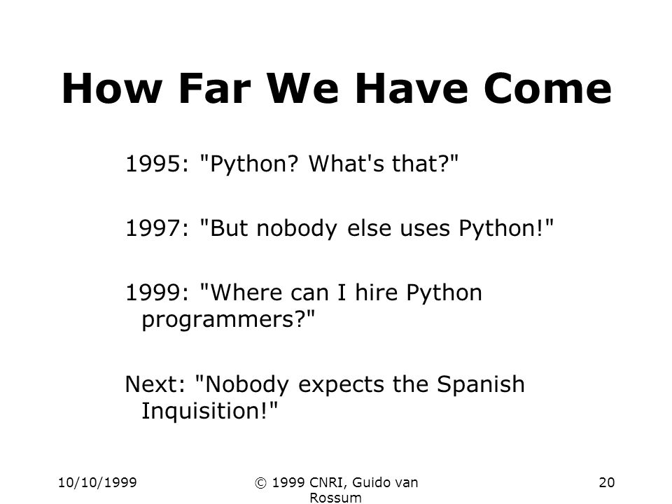 10/10/1999© 1999 CNRI, Guido van Rossum 20 How Far We Have Come 1995: