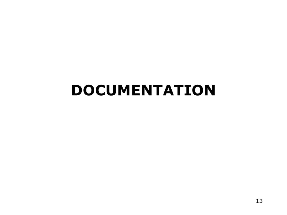 13 DOCUMENTATION