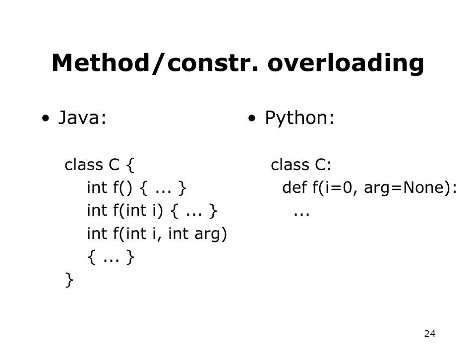 24 Method/constr. overloading Java: class C { int f() {...