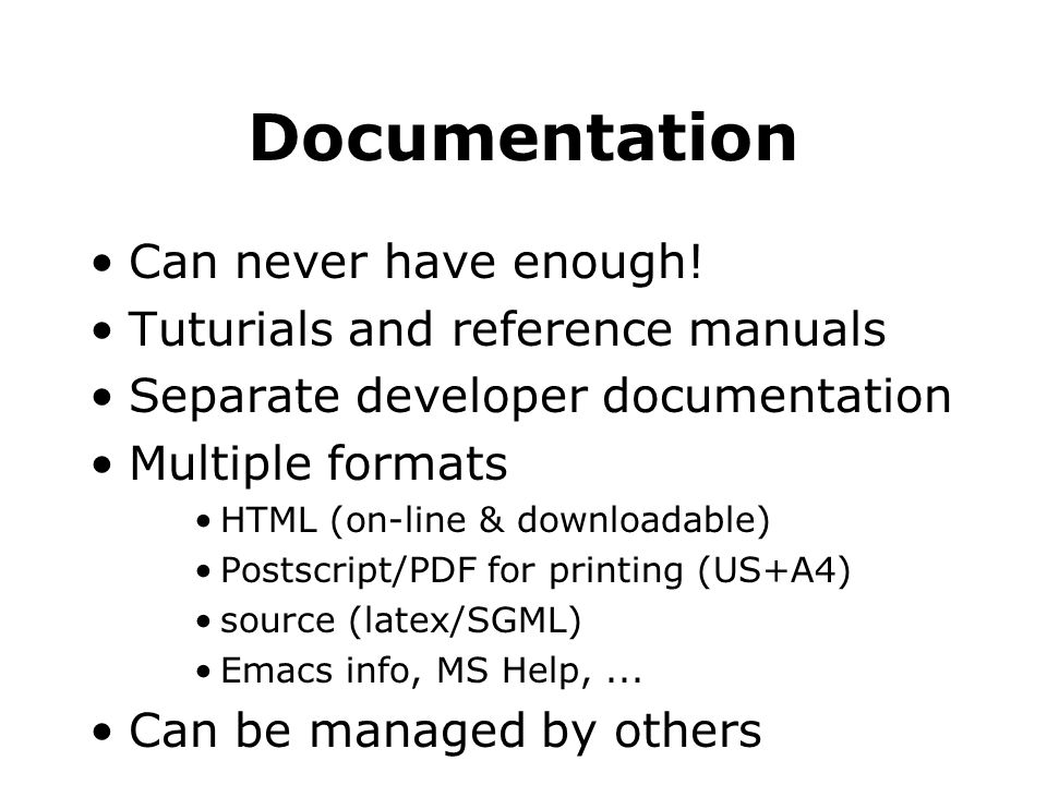 Documentation Can never have enough.