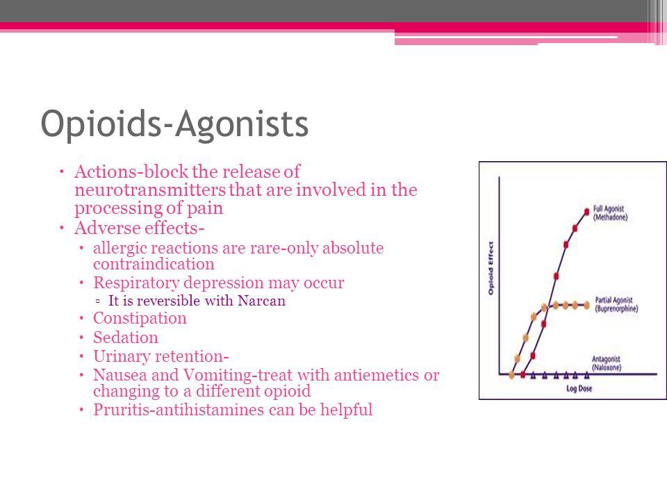 Opioids-Agonists Actions-block the release of neurotransmitters that are involved in the processing of pain Adverse effects- allergic reactions are ra