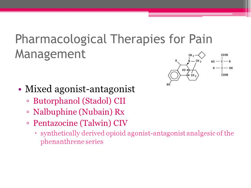 Pharmacological Therapies for Pain Management Mixed agonist-antagonist Butorphanol (Stadol) CII Nalbuphine (Nubain) Rx Pentazocine (Talwin) CIV synthe