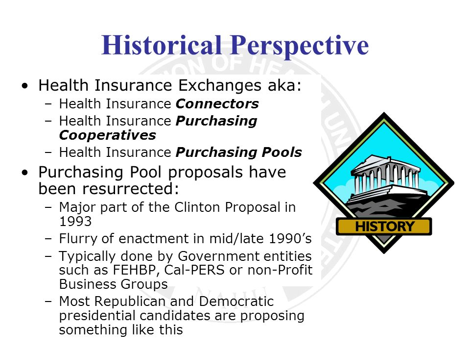 Historical Perspective Health Insurance Exchanges aka: –Health Insurance Connectors –Health Insurance Purchasing Cooperatives –Health Insurance Purchasing Pools Purchasing Pool proposals have been resurrected: –Major part of the Clinton Proposal in 1993 –Flurry of enactment in mid/late 1990s –Typically done by Government entities such as FEHBP, Cal-PERS or non-Profit Business Groups –Most Republican and Democratic presidential candidates are proposing something like this