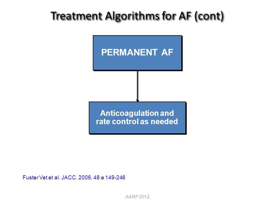 PERMANENT AF Anticoagulation and rate control as needed Treatment Algorithms for AF (cont) AANP 2012 Fuster Vet et al.