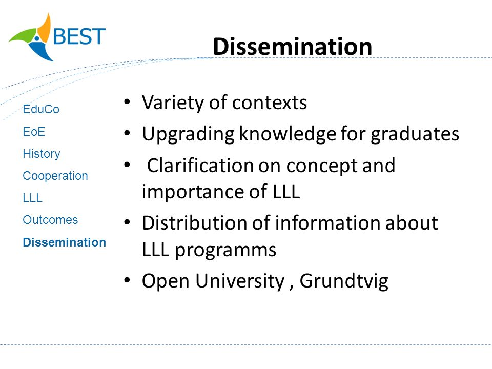 Variety of contexts Upgrading knowledge for graduates Clarification on concept and importance of LLL Distribution of information about LLL programms Open University, Grundtvig EduCo EoE History Cooperation LLL Outcomes Dissemination