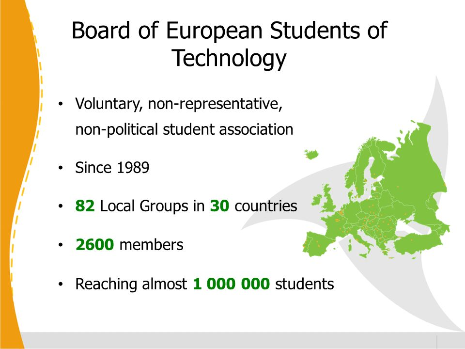 Board of European Students of Technology Voluntary, non-representative, non-political student association Since 1989 82 Local Groups in 30 countries 2600 members Reaching almost 1 000 000 students