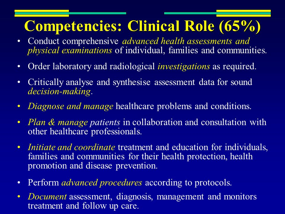 Clinical Role (65%) Competencies: Clinical Role (65%) Conduct comprehensive advanced health assessments and physical examinations of individual, famil
