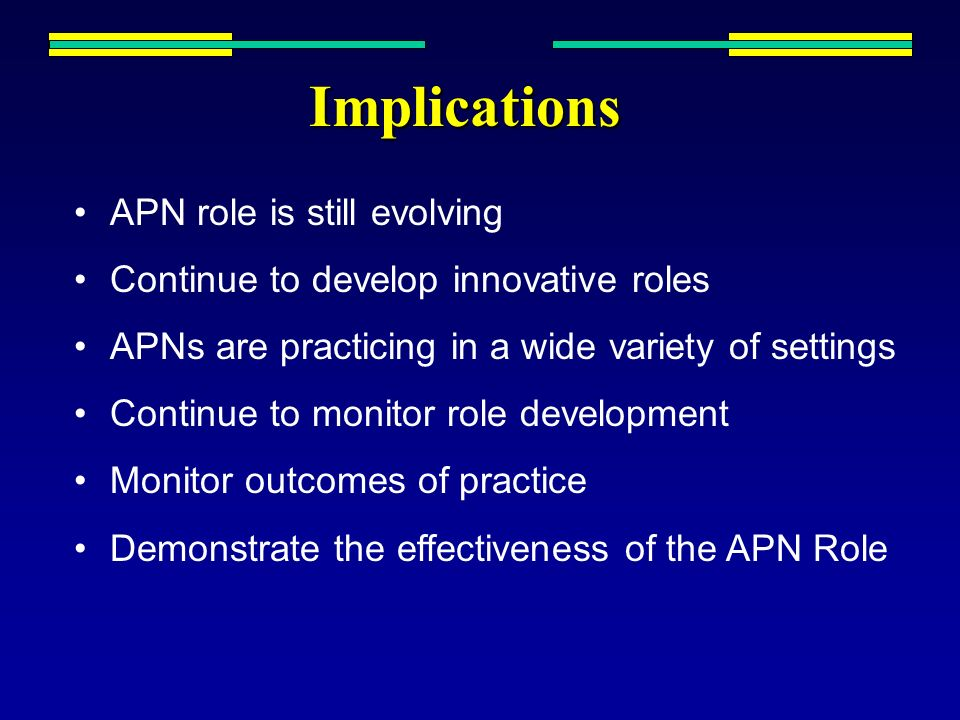 Implications APN role is still evolving Continue to develop innovative roles APNs are practicing in a wide variety of settings Continue to monitor rol