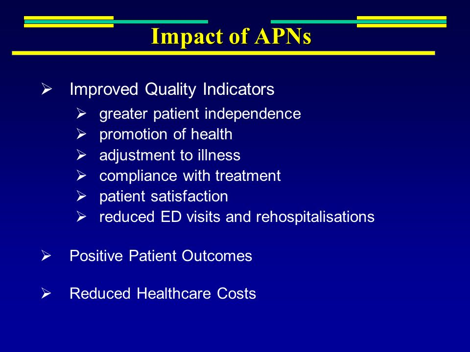Impact of APNs Improved Quality Indicators greater patient independence promotion of health adjustment to illness compliance with treatment patient sa