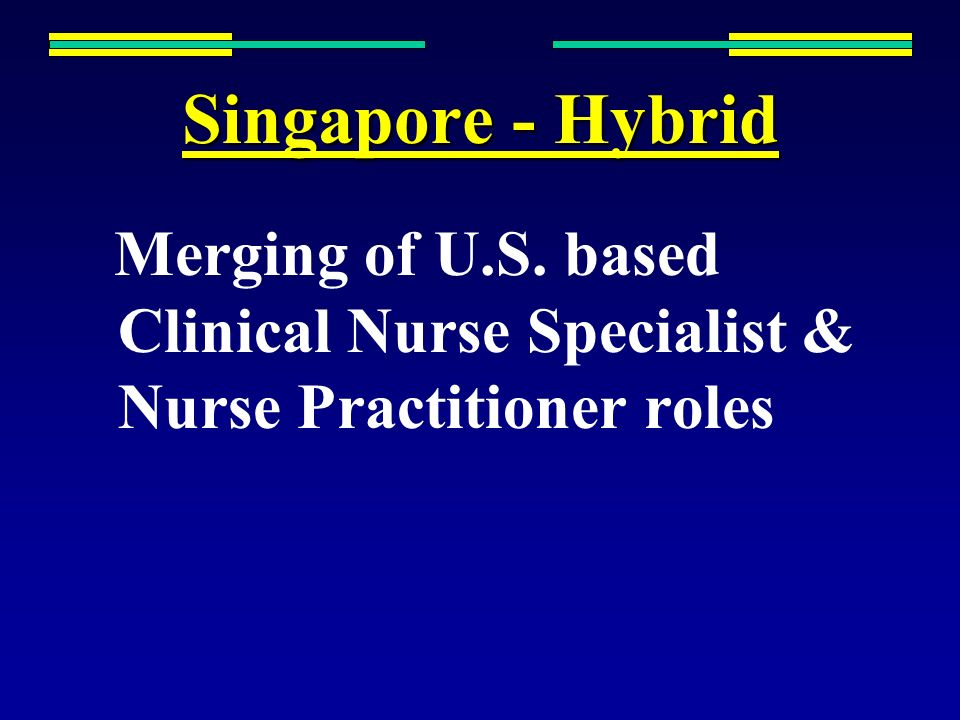 Singapore - Hybrid Merging of U.S. based Clinical Nurse Specialist & Nurse Practitioner roles