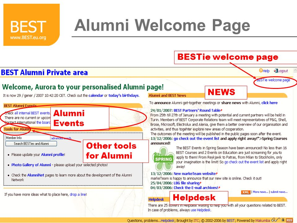 Alumni Welcome Page BESTie welcome page Alumni Events Other tools for Alumni NEWS Helpdesk
