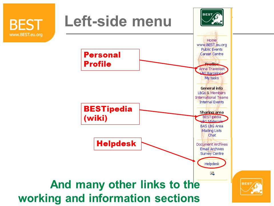 Left-side menu Helpdesk Personal Profile BESTipedia (wiki) And many other links to the working and information sections
