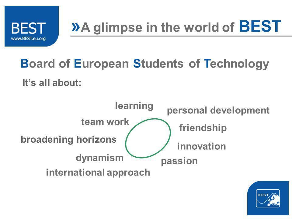 Board of European Students of Technology broadening horizons » A glimpse in the world of BEST personal development team work international approach innovation friendship dynamism Its all about: learning passion