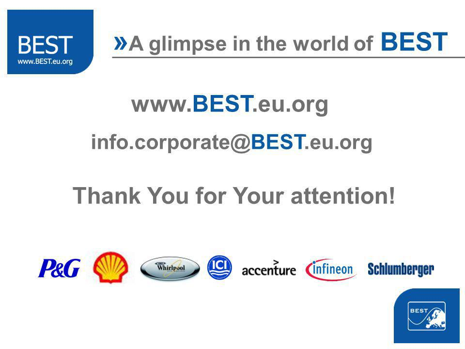 » A glimpse in the world of BEST   Thank You for Your attention!