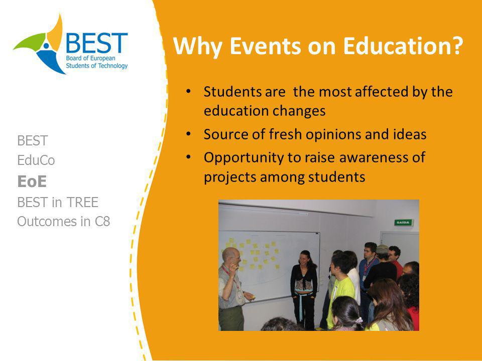 Events on Education in numbers 29 events on education from 1996 until 2008 Outcomes of the discussions presented in conferences all around Europe (examples: Online EDUCA Berlin 2007, SEFI Deans Conference 2008) BEST EduCo EoE BEST in TREE Outcomes in C8