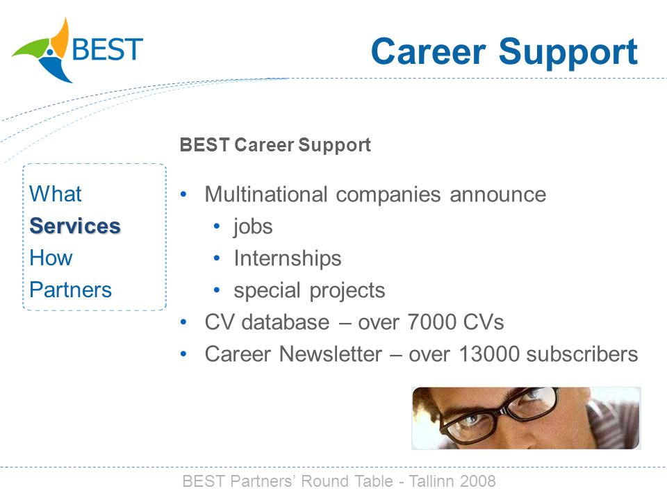Career Support BEST Career Support Multinational companies announce jobs Internships special projects CV database – over 7000 CVs Career Newsletter – over 13000 subscribers WhatServices How Partners BEST Partners Round Table - Tallinn 2008