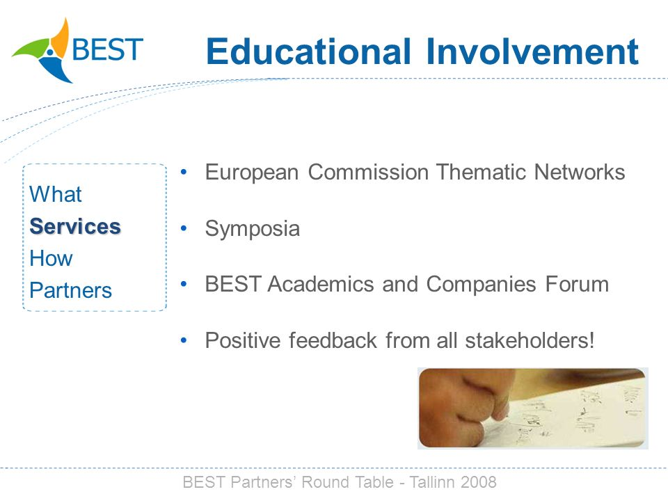 Educational Involvement European Commission Thematic Networks Symposia BEST Academics and Companies Forum Positive feedback from all stakeholders.