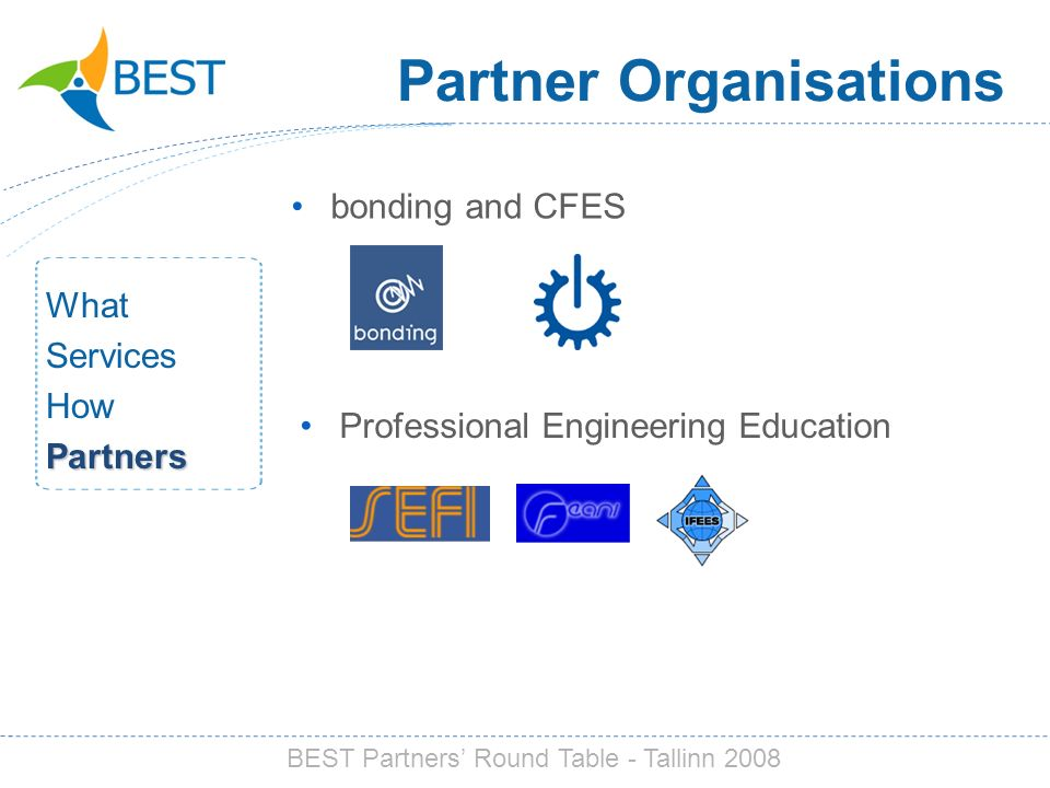 Partner Organisations bonding and CFES What Services HowPartners Professional Engineering Education BEST Partners Round Table - Tallinn 2008
