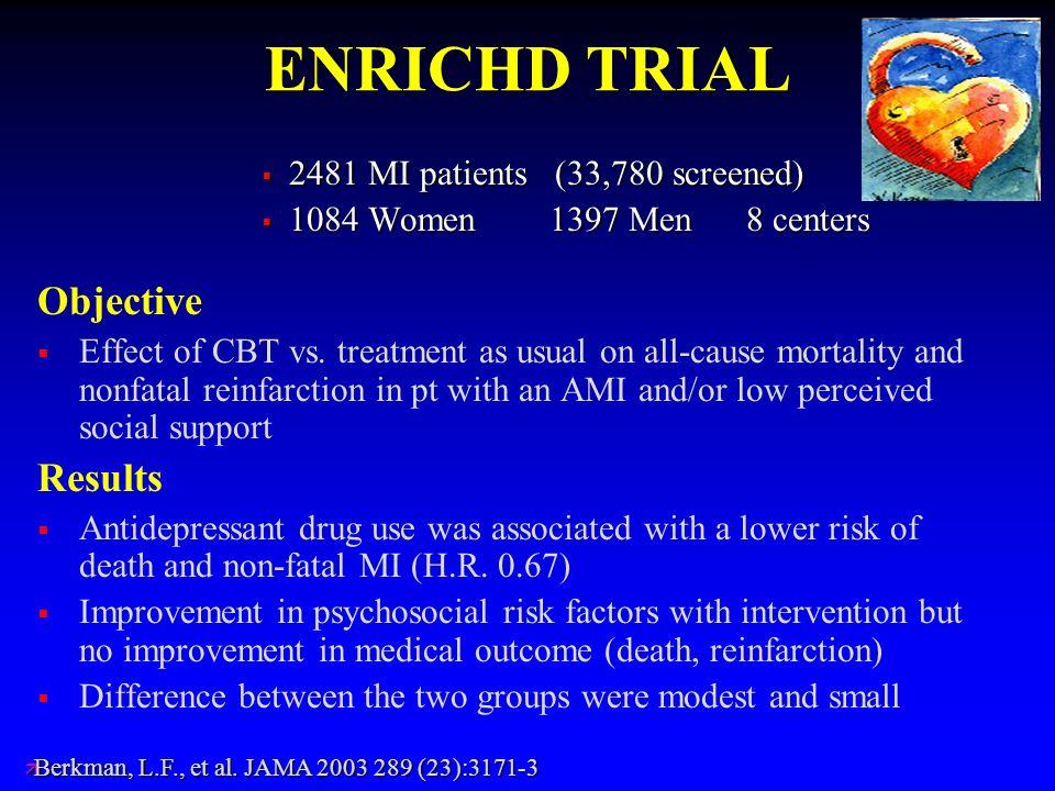 ENRICHD TRIAL 2481 MI patients (33,780 screened) 2481 MI patients (33,780 screened) 1084 Women 1397 Men 8 centers 1084 Women 1397 Men 8 centers Object