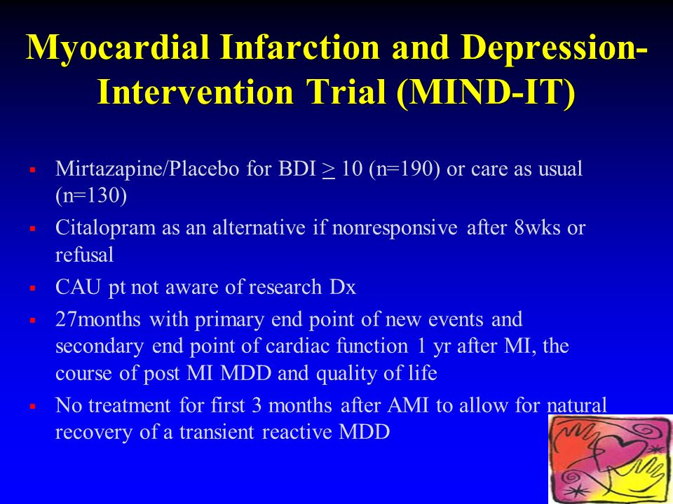 Myocardial Infarction and Depression- Intervention Trial (MIND-IT) Mirtazapine/Placebo for BDI > 10 (n=190) or care as usual (n=130) Citalopram as an alternative if nonresponsive after 8wks or refusal CAU pt not aware of research Dx 27months with primary end point of new events and secondary end point of cardiac function 1 yr after MI, the course of post MI MDD and quality of life No treatment for first 3 months after AMI to allow for natural recovery of a transient reactive MDD