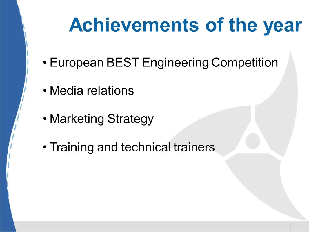 Achievements of the year European BEST Engineering Competition Media relations Marketing Strategy Training and technical trainers