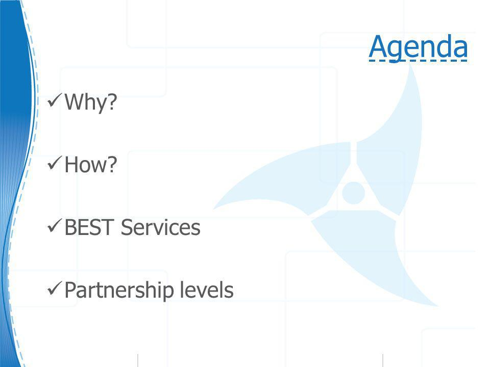 Agenda Why? How? BEST Services Partnership levels