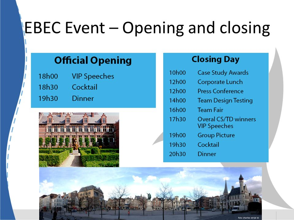EBEC Event – Opening and closing