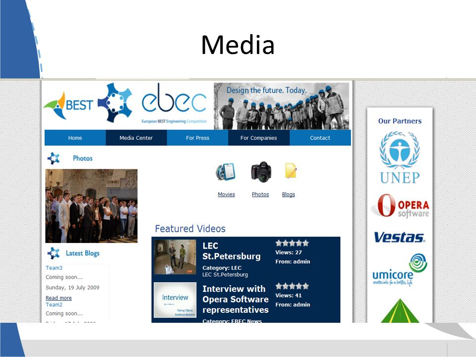 Media 6 times on television Several newspapers and radio Magazines and newspapers in participating countries