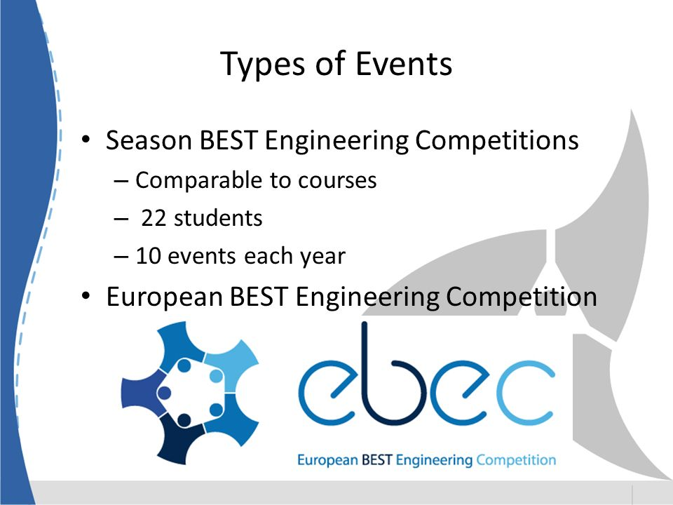 Types of Events Season BEST Engineering Competitions – Comparable to courses – 22 students – 10 events each year European BEST Engineering Competition