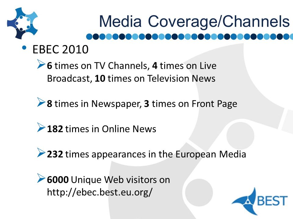 Media Coverage/Channels EBEC 2010 6 times on TV Channels, 4 times on Live Broadcast, 10 times on Television News 8 times in Newspaper, 3 times on Fron