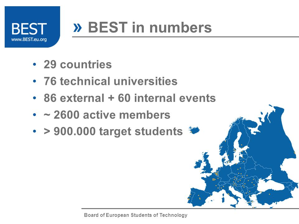 Board of European Students of Technology 29 countries 76 technical universities 86 external + 60 internal events ~ 2600 active members > 900.000 targe