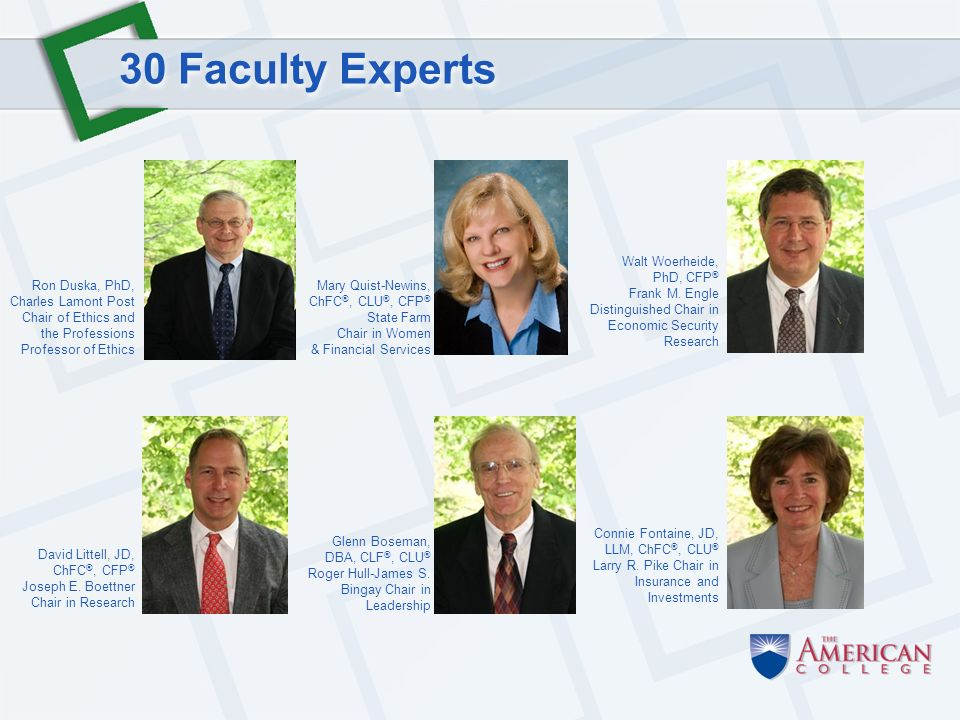 30 Faculty Experts Walt Woerheide, PhD, CFP ® Frank M.
