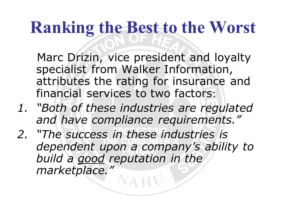 Ranking the Best to the Worst Marc Drizin, vice president and loyalty specialist from Walker Information, attributes the rating for insurance and fina