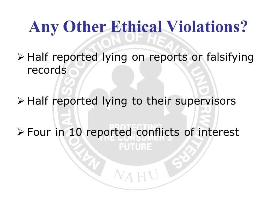 Other Ethical Issues for Insurance Professionals Conflicts of Interest As an agent in the insurance and financial services industry, an agent will have to identify and disclose any conflicts of interest.