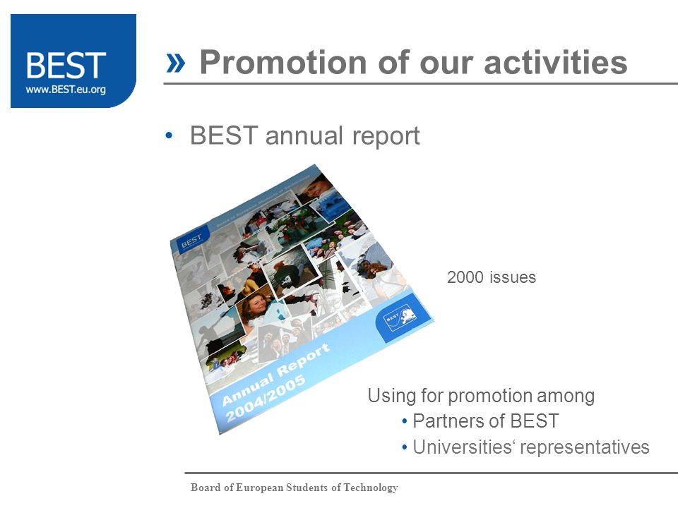 Board of European Students of Technology » Promotion of our activities BEST annual report 2000 issues Using for promotion among Partners of BEST Universities representatives
