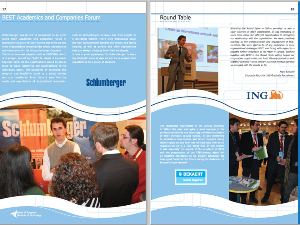 Corporate Partner Career Support Partner + Live meetings with BEST members Participation in one General Meeting One other BEST working event Promotion: Article in Annual Report Logo and news on BEST intranet Unlimited Career Newsletters