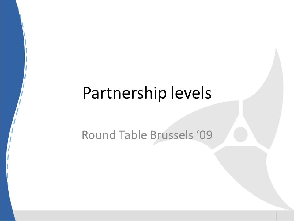 Partnership levels Round Table Brussels 09