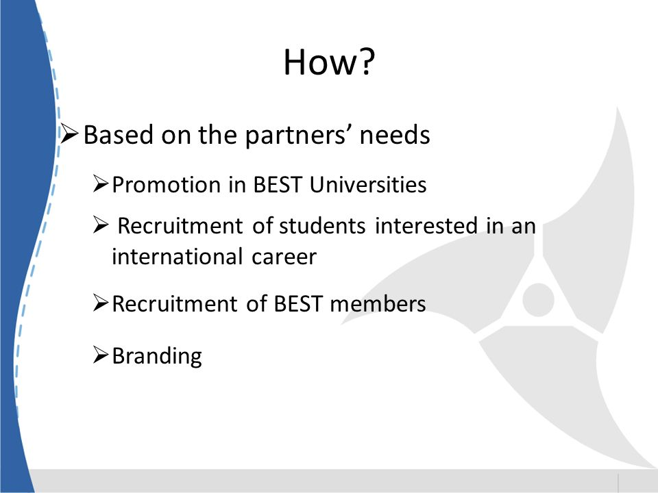 How? Based on the partners needs Promotion in BEST Universities Recruitment of students interested in an international career Recruitment of BEST memb