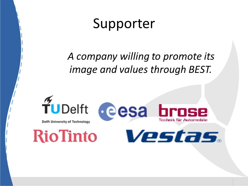 Supporter A company willing to promote its image and values through BEST.
