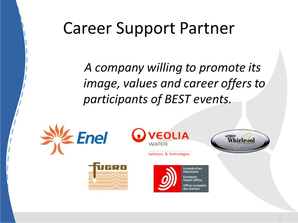 Career Support Partner A company willing to promote its image, values and career offers to participants of BEST events.