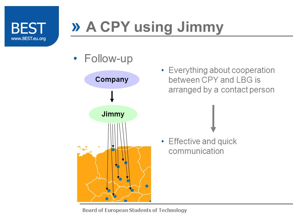 Board of European Students of Technology Follow-up » A CPY using Jimmy Jimmy Company Everything about cooperation between CPY and LBG is arranged by a contact person Effective and quick communication